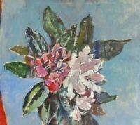 Franz Beck (1893-1983; Stade) abstraktes Stillleben - Gemälde: - RHODODENDRON -