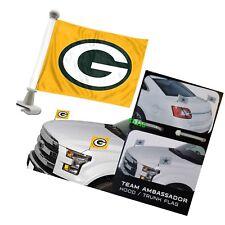 Green Bay Packers 4x6 Size Car Flag 2-pc Ambassador NFL Football Trunk Hood
