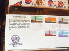 GOVERNMENT LIFE NEW ZEALAND 1989  SOUVENIR COVER  SET OF 5 LIGHTHOSES STAMPS