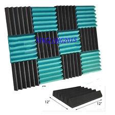 "2""x12""x12"" (12 Pk) TEAL/CHARCOAL Acoustic Wedge Soundproofing Studio Foam Tiles"