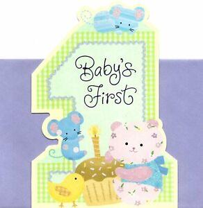 Happy 1st Turning 1 Birthday Cat & Mouse Mice Hallmark Greeting Card