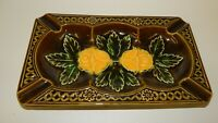 Vintage Japan MCM Ceramic Yellow Roses on Avocado Green Large Ashtray