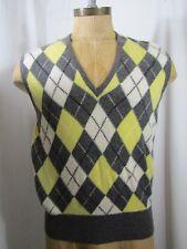 ROMANES & PATERSON by BALLANTYNE 100% Cashmere Argyle Sweater Vest Size L