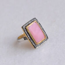 Diamond Pave Pink Opal Gemstone Wedding Ring 925 Silver Party Wear Gift Jewelry