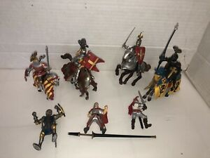 Schleich & PAPO  Medieval Knights Soldiers And Horses Lot