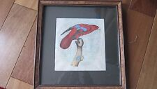 Orig. Watercolor Painting  Red Lori Borneo Bird  Framed Signed Barraband?