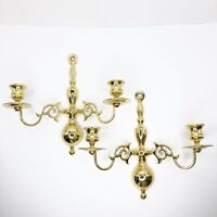 Polished Brass Double Arm Colonial Wall Sconces Candle Holder PAIR (2)
