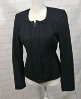 Elie Tahari Blazer Jacket Size 4 Black Zipper Front Long Sleeve Business Work
