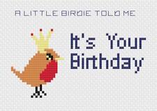 Little Birdie anniversaire Kit de cartes de point de croix par florashell