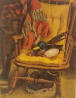 "Vintage Oil Painting on Canvas Duck Portrait Unframed Art (31"" x 24"")"