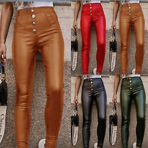Women's Ladies Wet Look Faux Leather Pants Gold Button Skinny Leggings Trousers