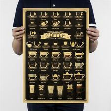 coffee cup bar kitchen drawing poster vintage poster retro wall sticker decor FO