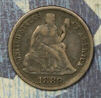 1889-S SEATED LIBERTY DIME SILVER COLLECTOR COIN, FREE SHIPPING