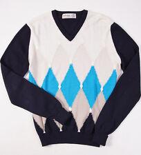 NWT $695 BALLANTYNE Ltd-Edition Cotton-Cashmere Sweater 50/M Hand-Knit Intarsia