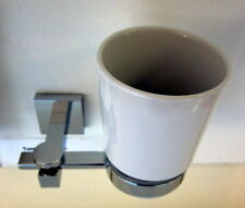 Square Solid Brass Tumbler Holder with Ceramic Mug