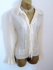 NEXT Vintage Style Cream Ivory Semi Sheer Lace Boho Gypsy Blouse Top Size 10