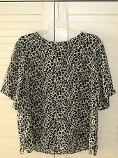Courtwell Silk Career Top Blouse Sleeveless Leopard Print XL