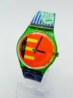 1988 Rare Hipster Musical Style Swatch Watch | 80s Swiss Neon Swatch Watch