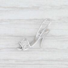 Diamond High Heel Charm 10k White Gold Pendant Women's Accessory