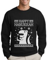 Happy Hanukkah Funny Jewish T-Rex Ugly Christmas Sweatshirt Gift Idea