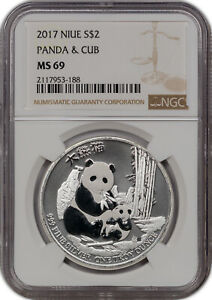2017 NIUE SILVER 2 DOLLARS PANDA & CUB NGC MS 69 PROOF FINEST KNOWN*