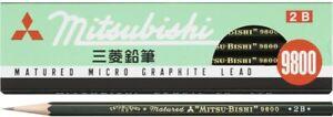 12 Pencils Mitsubishi Pencil 9800 2B Lead K98002B MADE IN JAPAN