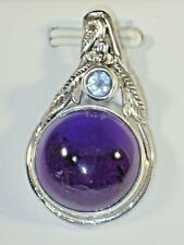 NATURAL AMETHYST & BLUE TOPAZ PENDANT- 925 SILVER, 14K WHITE GOLD PLATED #13