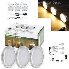 3 Pack Under Cabinet Lighting Kit Kitchen Counter Puck Lights Shelves LED Light