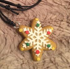 Snowflake Pendant Necklace Cookie Adjustable Ladies Star Christmas Gift