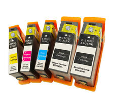 5 Pack for Dell 31 32 33 34 Black Cyan Magenta Yellow Ink Cartridge V525W V725W