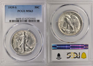 1939-S PCGS MS63 UNCIRCULATED SILVER WALKING LIBERTY HALF DOLLAR 50 COIN !