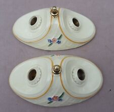 Pair of PORCELIER 2-Bulb Porcelain Ceiling Lights: Blue, Orange & Green Accents