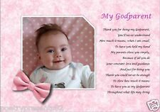 GODPARENT christening gift  (Laminated Poem Gift) *YOUR PHOTO PRINTED**