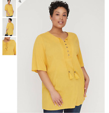 $49 Women's 3X Yellow Peasant Knit Top Shirt Bust 62 Tunic Lgth 34 CATHERINE'S