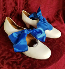 Vintage White Famolare Size 9 Leather Uppers And Soles Blue Ribbon Dance Shoes