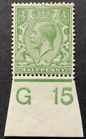 1913. 1/2d. DULL (VERY YELLOW) APPLE GREEN. N14(-) G15(l). CONTROL  MOUNTED MINT