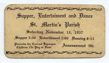 1937 ST MARTIN'S PARISH Church SUPPER Dance Ticket MASSACHUSETTS New Bedford
