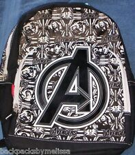 The AVENGERS A Emblem Backpack NeW Full Size Black/White Canvas Book Bag 15 x 12