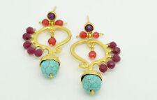 Ottomangems semi precious stone gold plated earrings Agate ethnic  handmade