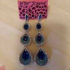 Betsey Johnson Rhinestone Cluster Earrings Blue