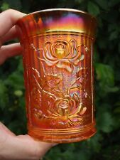 Carnival Glass.Imperial Dark Marigold Lustre Rose Tumbler.Great Colour And VGC