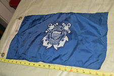 """Vintage Us Coast Guard Auxiliary Flag - Uscg Auxiliary - 12"""" x 21"""" - Nyl Glo"""