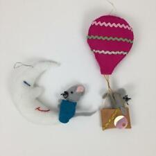 2 Vintage Handmade Felt Mice Christmas Ornaments Mouse on Moon & Hot Air Balloon