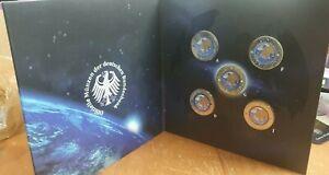 5x 5 Euro Gedenkmünze BRD Planet Erde 2016 Farbe Farbmünze Deutschland ADFGJ
