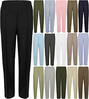 Womens Ladies Half Elasticated Trousers Pockets Pants Office Workwear Plus Size
