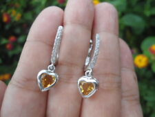Natural CITRINE Birthstone & CZ Sterling 925 Silver Heart Dangling EARRINGS