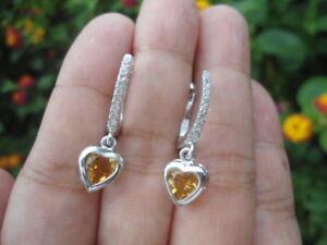 Natural CITRINE Birthstone & CZ Sterling 925 Silver Heart Dangling EARRINGS