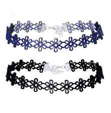 2 Pcs/lot Fashion Sexy Lace Flower Blue/Black Artificial Leather Necklaces