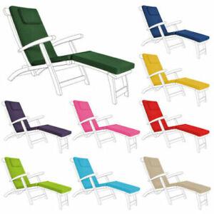 Water Resistant Steamer Chair Cushion Seat Pad Garden Patio Sun Lounger Recliner