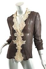 R.E.D. VALENTINO Chocolate 100% Viscose Chiffon Blouse w/Lace Trim - 38/US 6